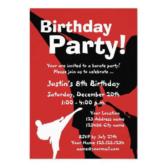 Karate Birthday party invitations for kids Zazzlecom
