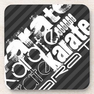 Karate; Black & Dark Gray Stripes Coasters