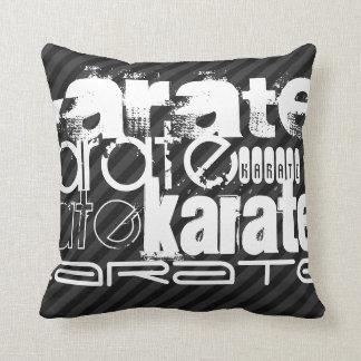 Karate; Black & Dark Gray Stripes Pillow