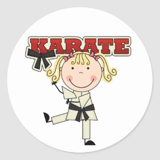KARATE - Blond Girl T-shirts and Gifts Classic Round Sticker