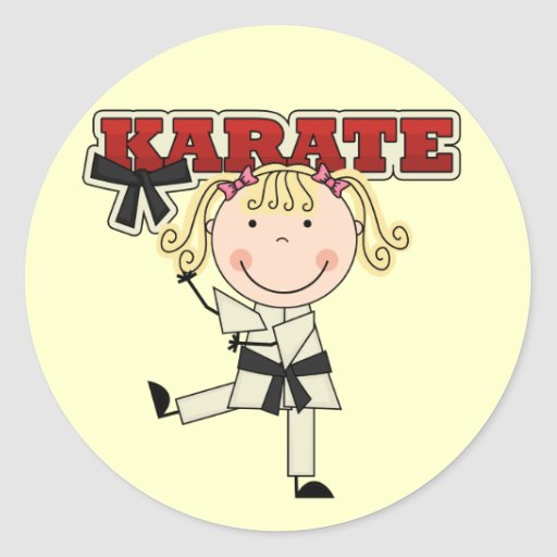 KARATE - Blond Girl T-shirts and Gifts Round Stickers
