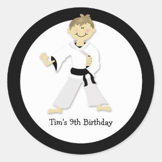 KARATE BOY Blackbelt Birthday Party Favor Sticker