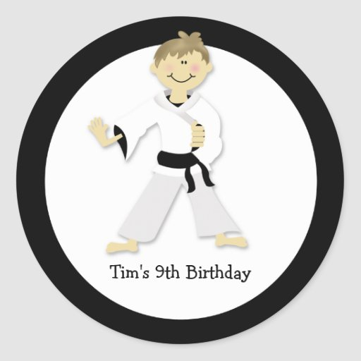 KARATE BOY Blackbelt Birthday Party Favor Sticker