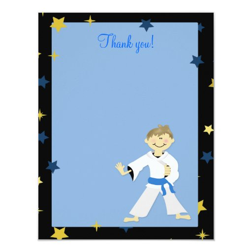 KARATE BOY Blue Belt 4x5 Flat Thank you note Card