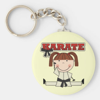 KARATE - Brunette Girl T-shirts and Gifts Basic Round Button Keychain