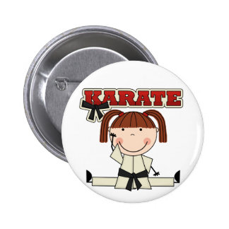 KARATE - Brunette Girl T-shirts and Gifts Button