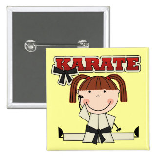 KARATE - Brunette Girl T-shirts and Gifts Pinback Button