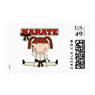 KARATE - Brunette Girl T-shirts and Gifts Stamp