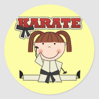 KARATE - Brunette Girl T-shirts and Gifts Classic Round Sticker