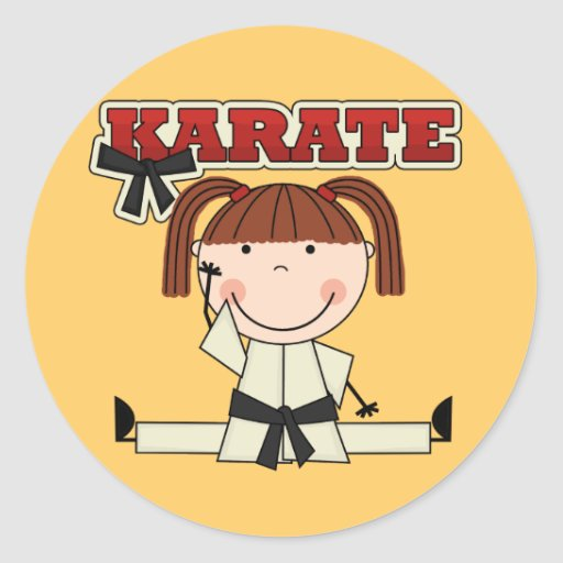KARATE - Brunette Girl T-shirts and Gifts Round Stickers