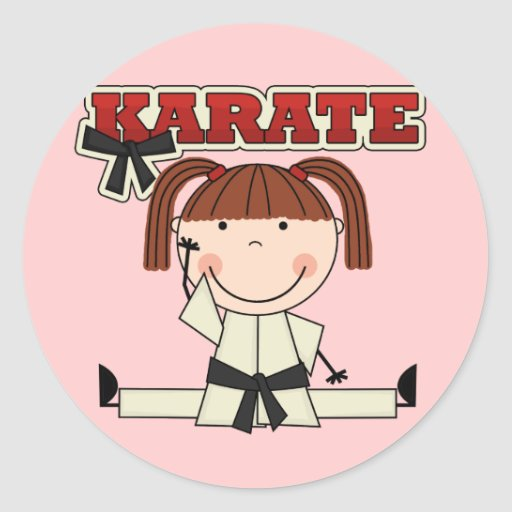 KARATE - Brunette Girl T-shirts and Gifts Round Sticker