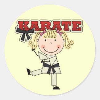 KARATE - camisetas y regalos rubios del chica Etiquetas Redondas
