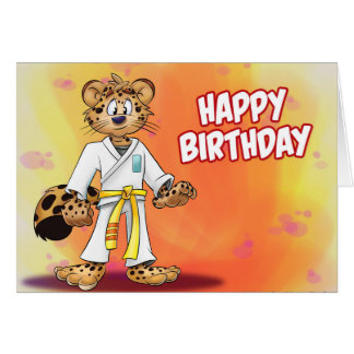 karate cartoon birthday greeting card