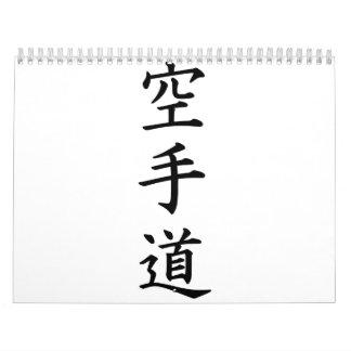 Karate chino del kanji calendario