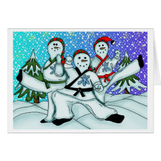 Karate Christmas Snowmen Card