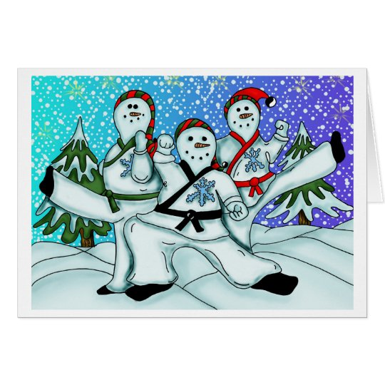 Karate Christmas Snowmen Card