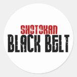 Karate de la correa negra de Shotokan Pegatina Redonda