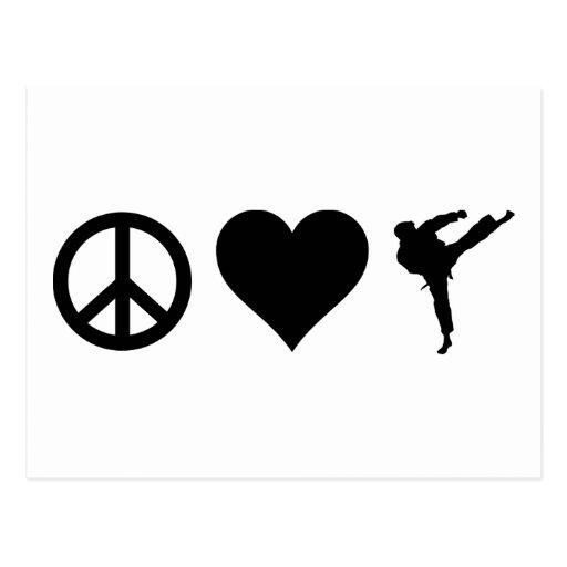 Karate del amor de la paz tarjetas postales