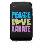 Karate del amor de la paz tough iPhone 3 carcasas