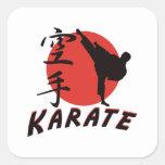 Karate del karate pegatina cuadrada