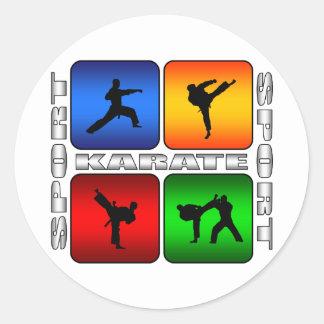 Karate espectacular etiqueta redonda