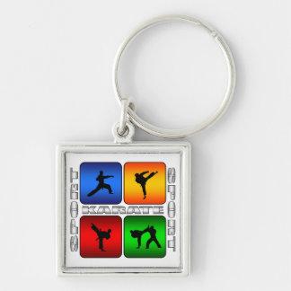 Karate espectacular llavero cuadrado plateado