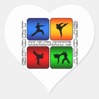 Karate espectacular pegatina en forma de corazón
