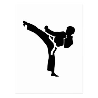 Karate fighter postcard