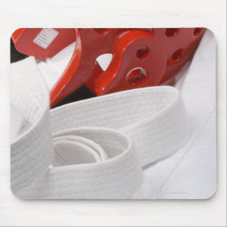 Karate gi and sparring headgear mouse pad