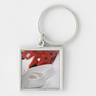Karate gi and sparring headgear Silver-Colored square keychain