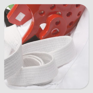 Karate gi and sparring headgear square sticker