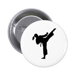 Karate girl woman pinback button