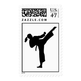 Karate girl woman postage stamp