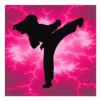 Karate Girls Birthday Party Card
