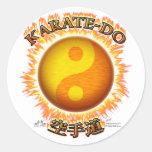 Karate-hacen los pegatinas de Yin/de Yang Sun Pegatinas Redondas