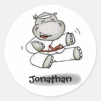 Karate Hippo Classic Round Sticker