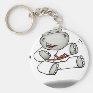 Karate Hippo Basic Round Button Keychain