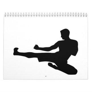 Karate jump kick wall calendars