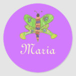 Karate Kat butterfly ID--to personalize Classic Round Sticker