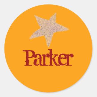 Karate Kat gold star ID sticker--to personalize Classic Round Sticker