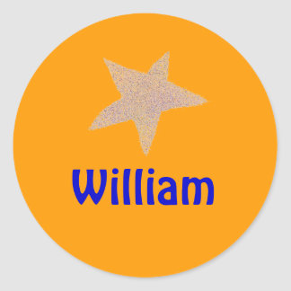 Karate Kat gold star ID--to personalize Classic Round Sticker