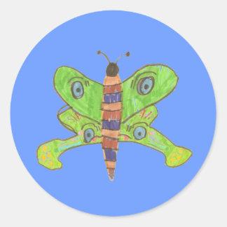 Karate Kat Graphics butterfly sticker, blue Classic Round Sticker