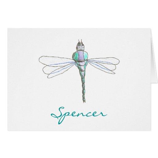 Karate Kat Graphics dragonfly ID notecard Greeting Card