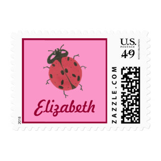 Karate Kat Graphics ladybug ID stamp--personalize Postage