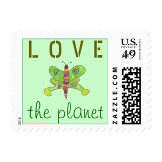 """Karate Kat Graphics """"love the planet"""" Postage Stamps"""
