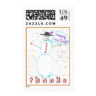 Karate Kat Graphics snowman thank-you Stamp