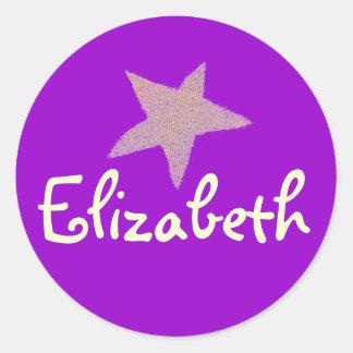 Karate Kat purple star ID--to personalize Classic Round Sticker