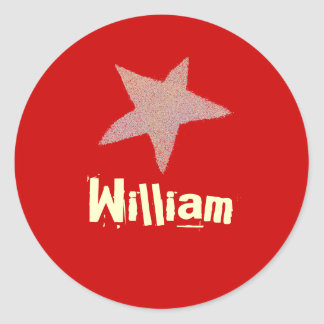 Karate Kat red star ID--to personalize Round Sticker