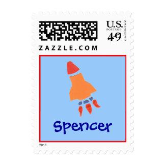 Karate Kat rocket ID stamp--to personalize Stamp