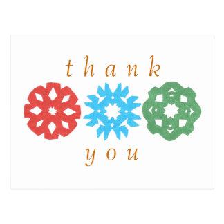 Karate Kat snowflake trio thank-you Postcard
